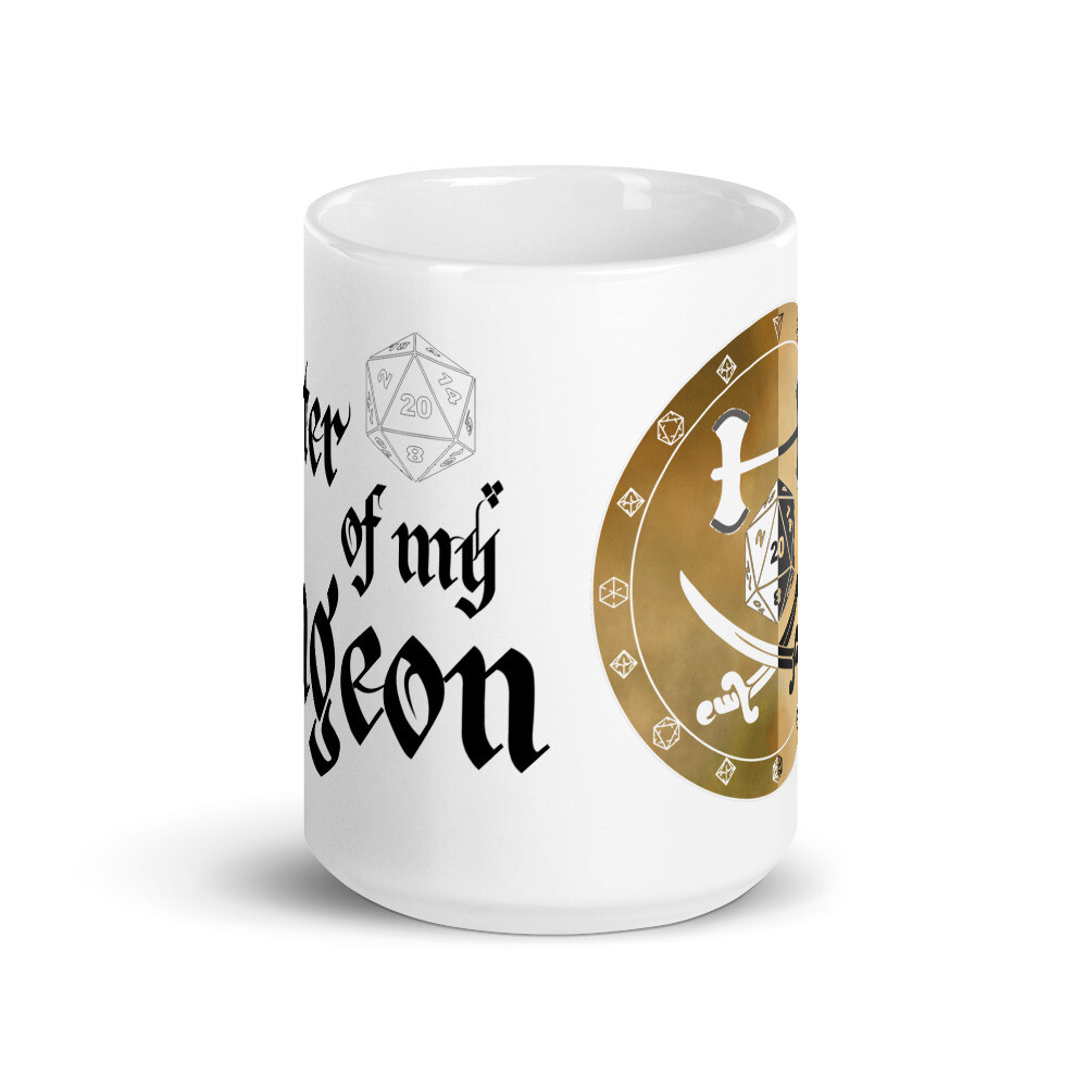 Master of My Dungeon Fighter Shield White glossy mug