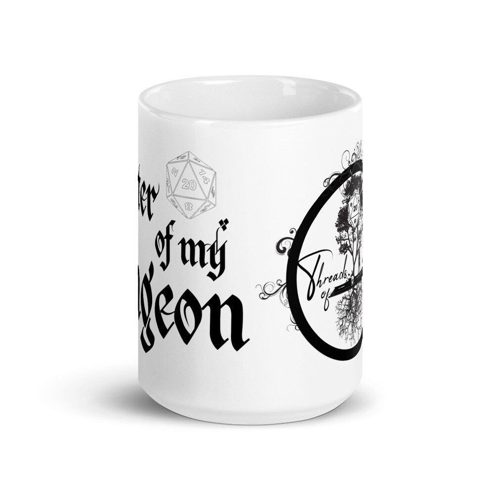 Master of My Dungeon Threads of Fate Skuld Full Logo White glossy mug