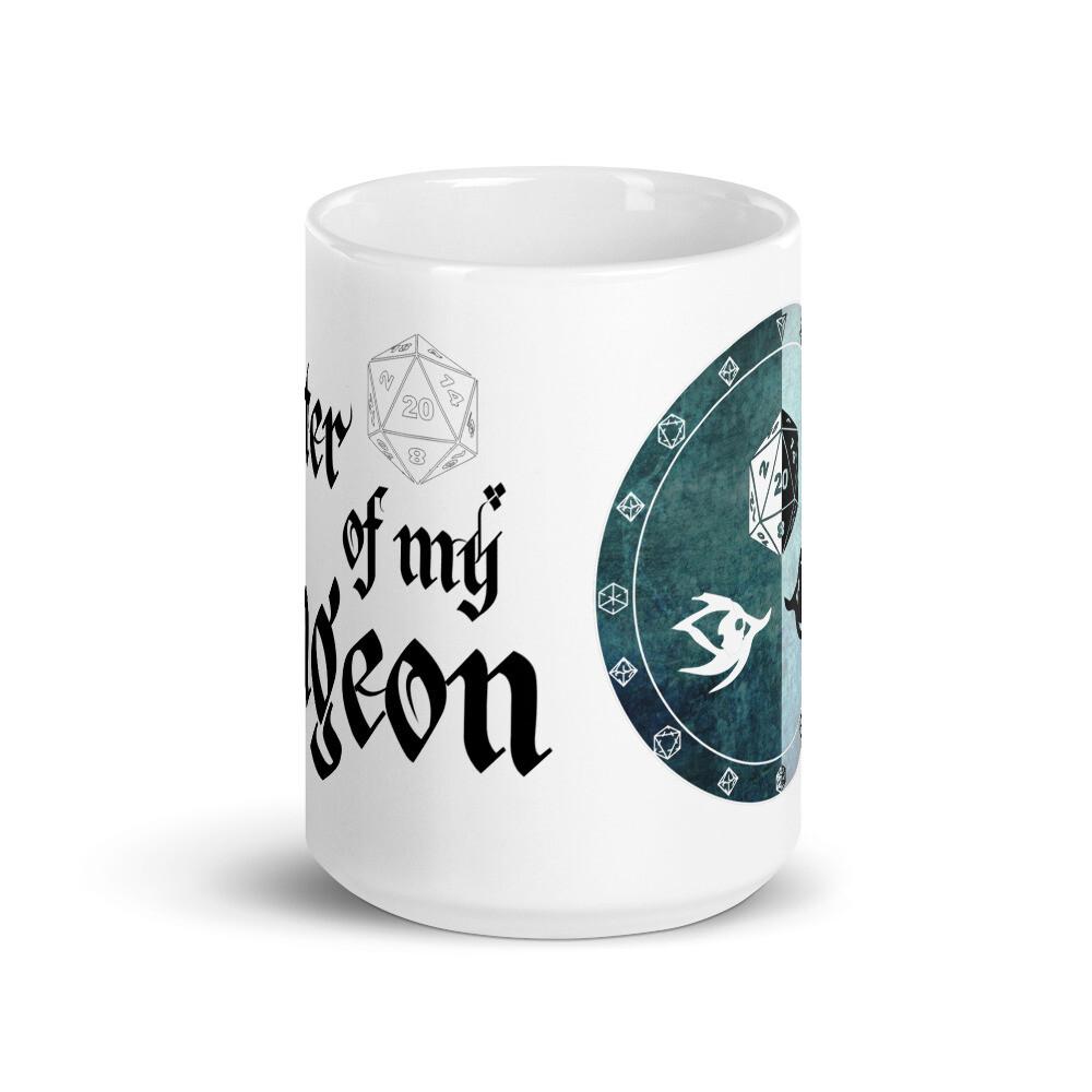 Master of My Dungeon Warlock Shield White glossy mug