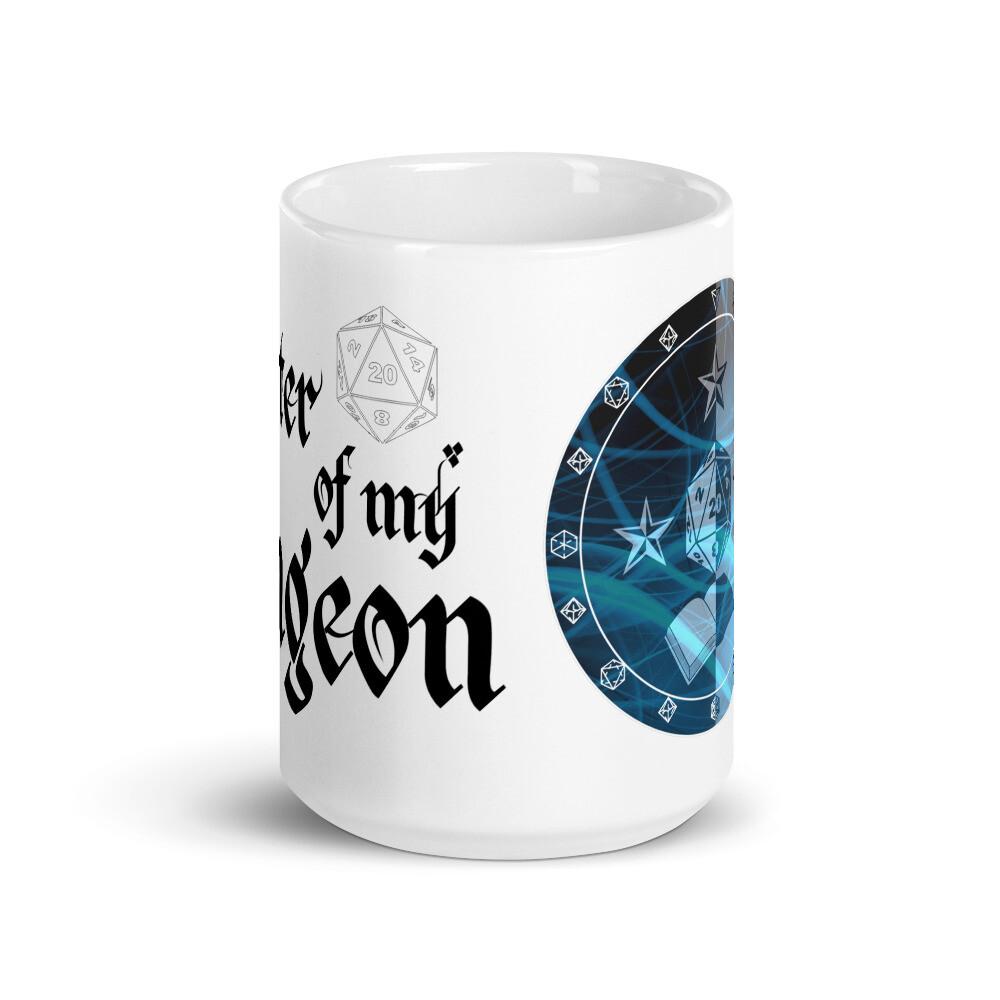 Master of My Dungeon Wizard Shield White glossy mug