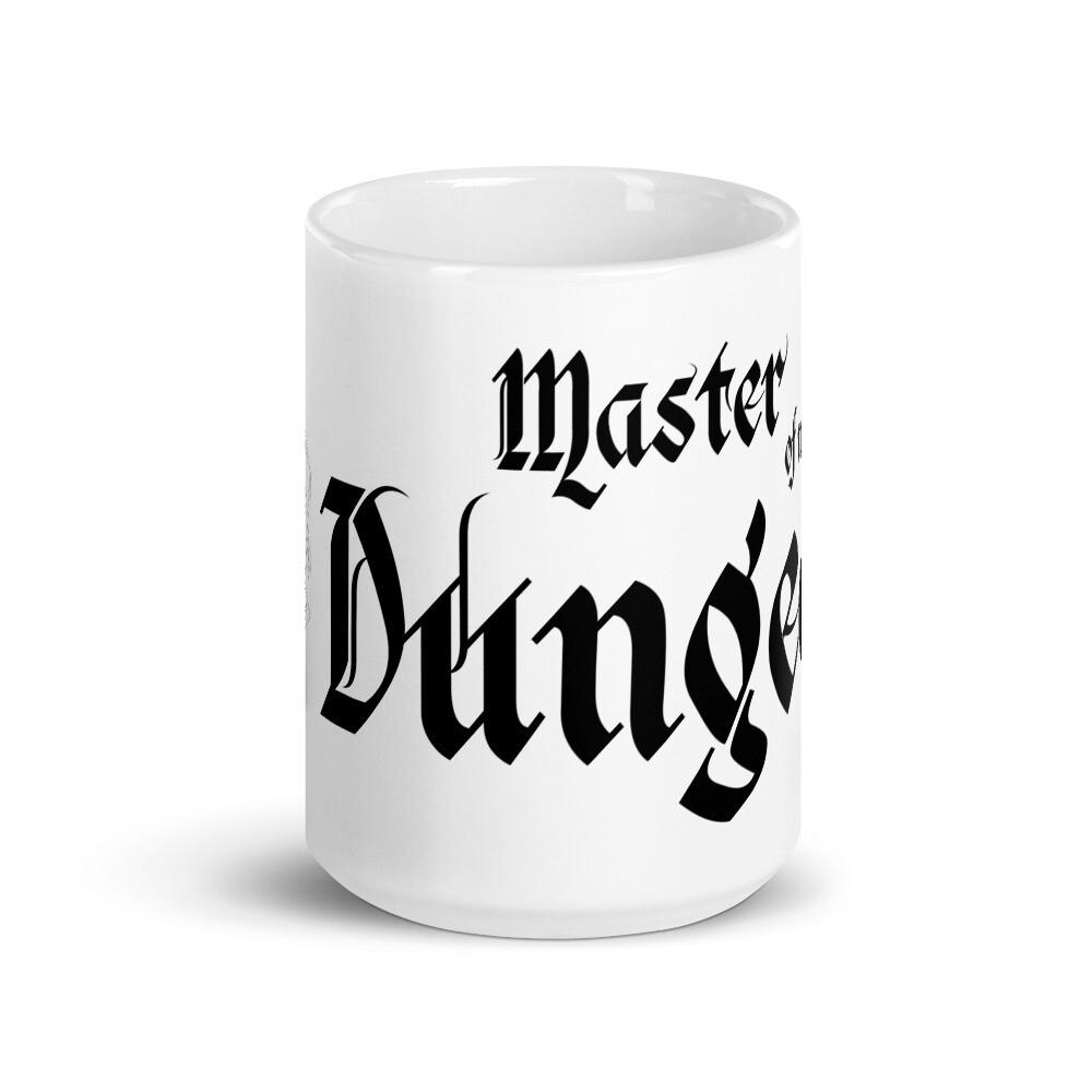 Master of My Dungeon D20 White glossy mug