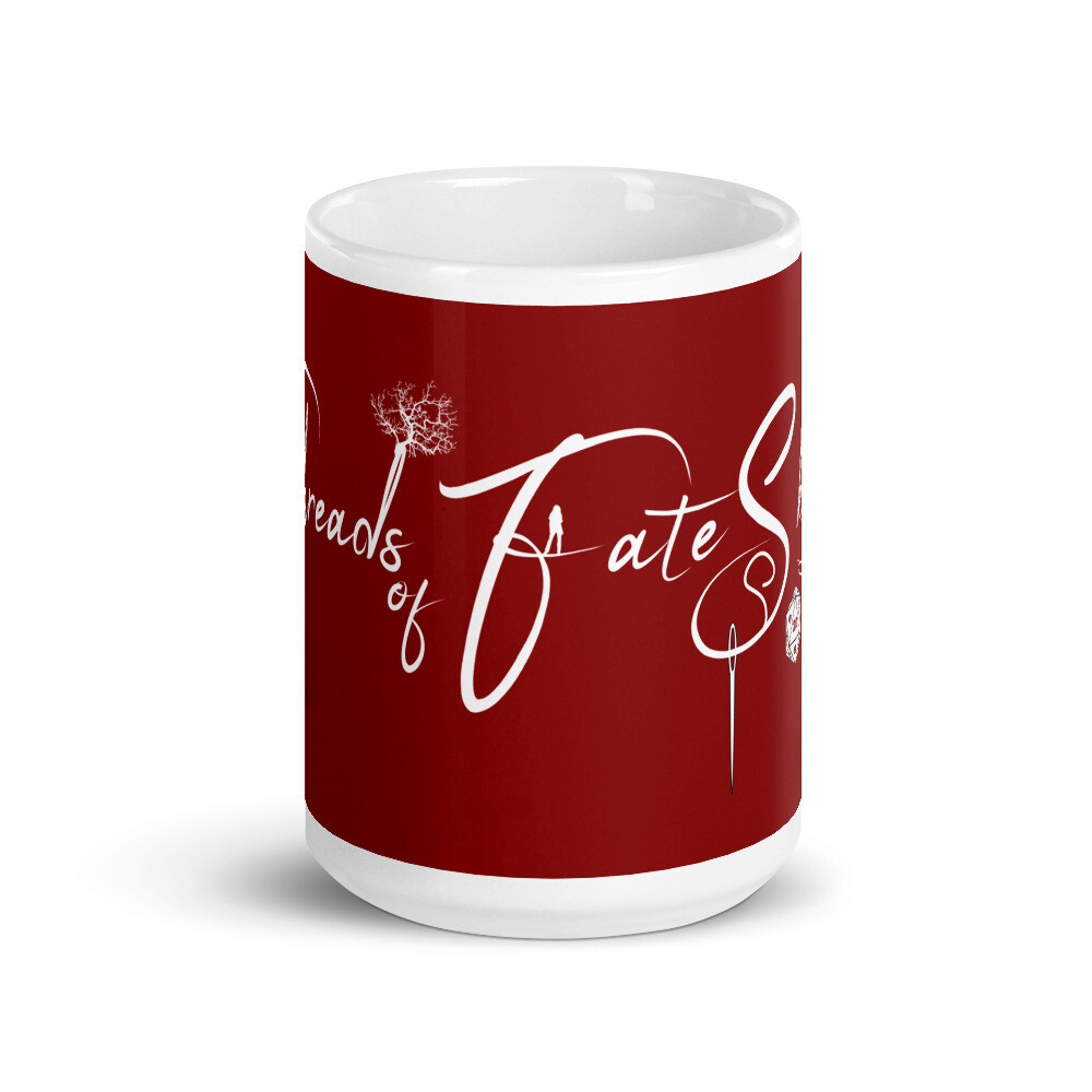 Threads of Fate Skuld Red Banner Logo White glossy mug