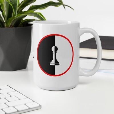 Chess Piece Pawn B&W Red Circle White glossy mug