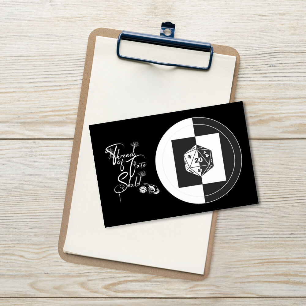 Threads of Fate Skuld D20 B&W Standard Postcard