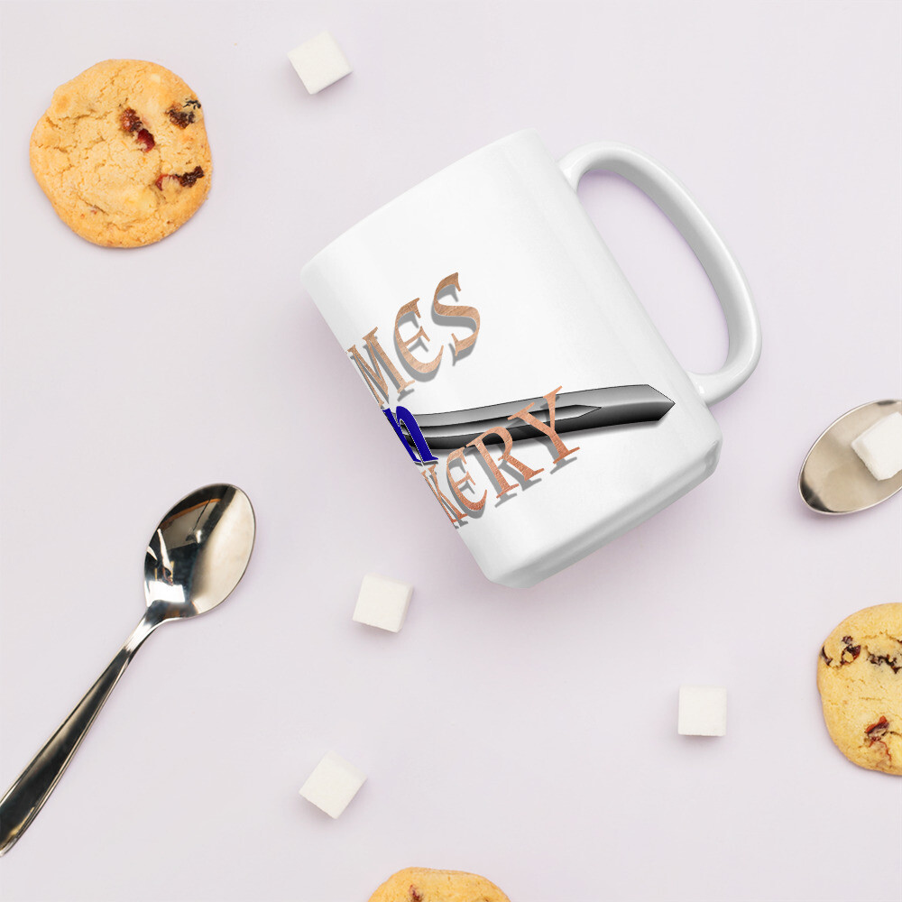Games N Geekery Banner Merch Logo White glossy mug
