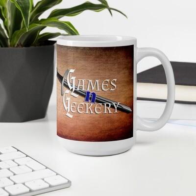 Games -N- Geekery Double Sword Banner Logo White glossy mug