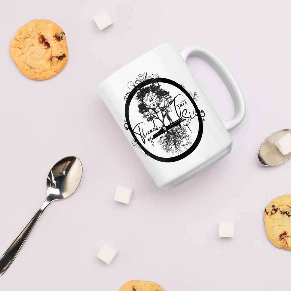Threads of Fate Skuld Full Logo White glossy mug