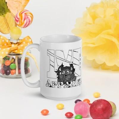 B&W Merch Beast Apparel Fan Gear White glossy mug