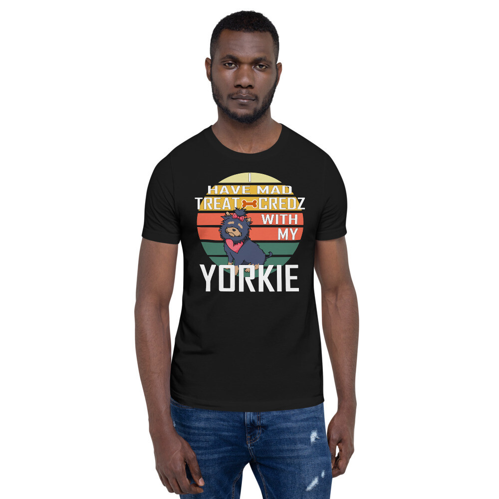 Retro Sunset Yorkie Dog Lover Short-Sleeve Unisex T-Shirt