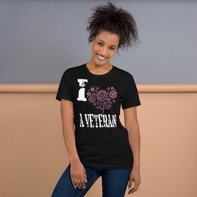 I Pink Heart A Veteran Short-Sleeve Unisex T-Shirt