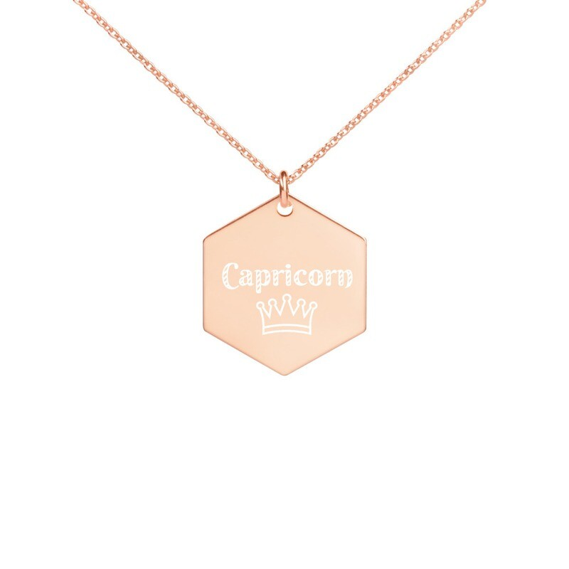 Capricorn Princess Engraved Silver Hexagon Necklace