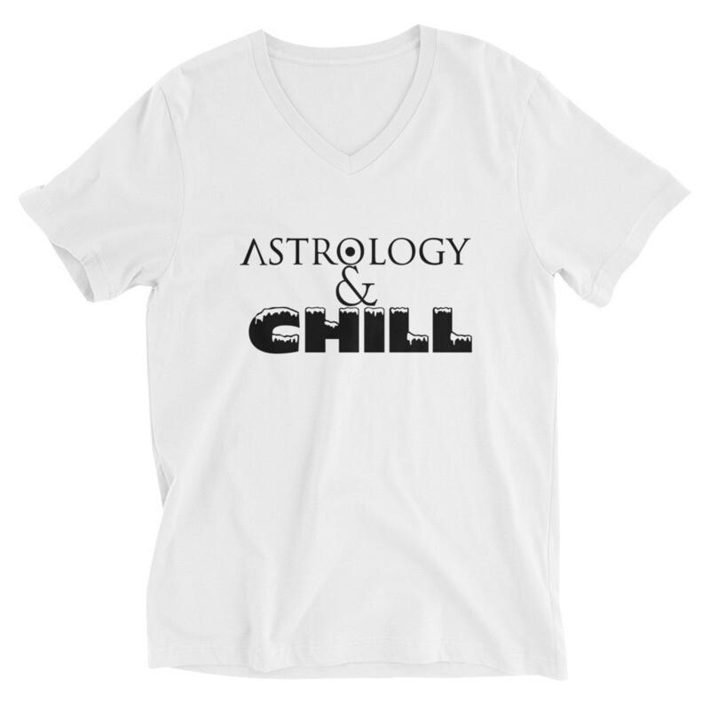 White Unisex Short Sleeve Astrology & Chill V-Neck T-Shirt