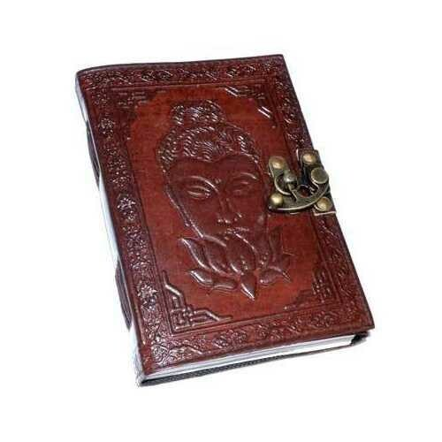 Buddha Lotus leather blank book w/ latch
