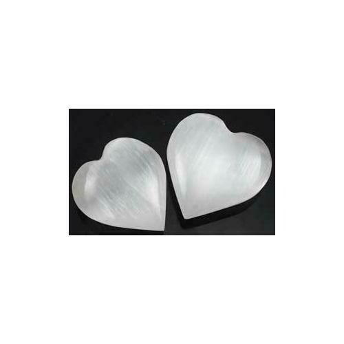 """White Selenite heart  1 1/4"""" - 2"""""""