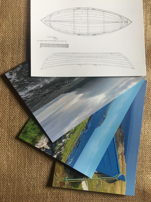 Four assorted Shetland maritime themed A5 photo cards.