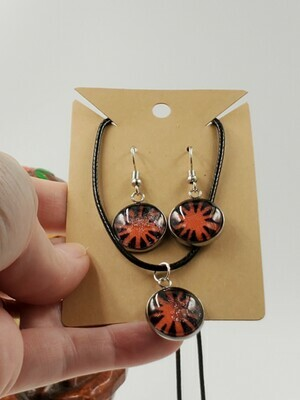 Orange burst pendant & earrings