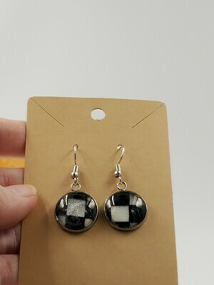 check cross dangle earrings