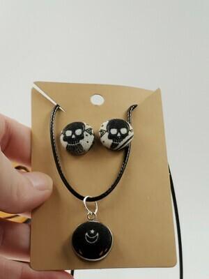 skulls and moon pendant & earrings
