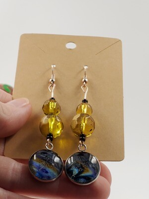 blue swirl and vintage gem dangle earrings