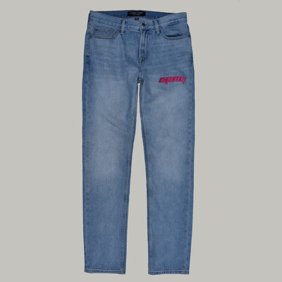 EMBROIDERY PINK LOGO BLUE JEANS