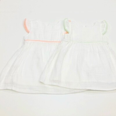 White Dress w/ Pom Pom Trim Mint