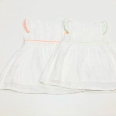 White Dress w/ Pom Pom Trim Pink
