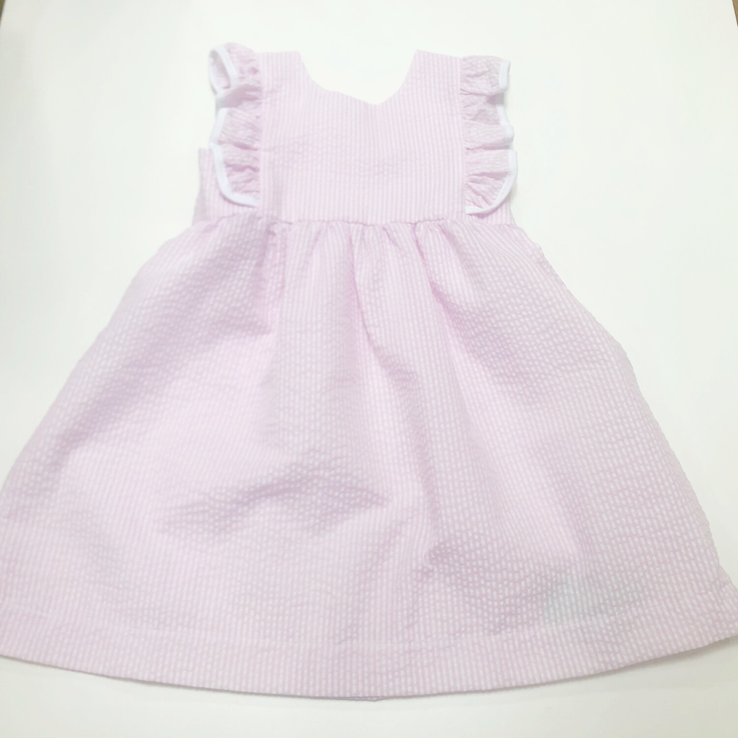 Ruffle Dress W/ Trim Pink