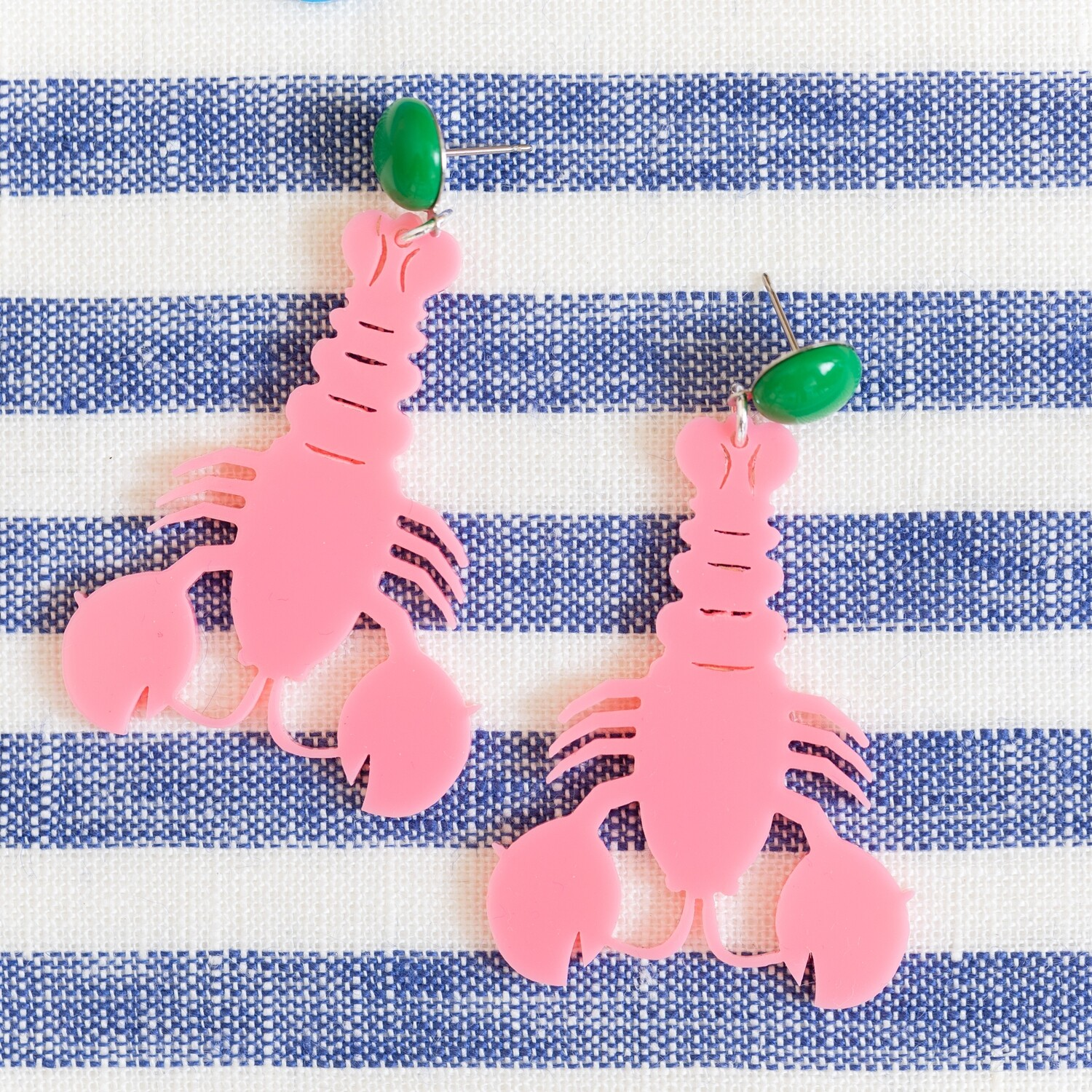 Pink Lobster Drop Earrings