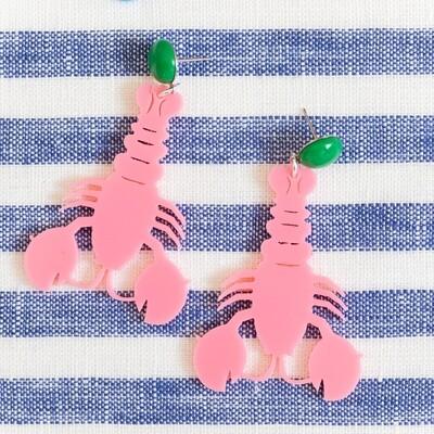 Pink Lobster Drop Earrings