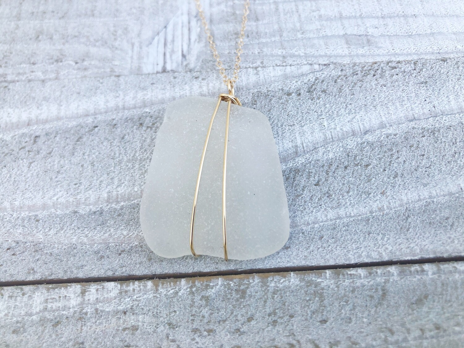 Gold-Filled Wire Wrapped Square Sea Glass