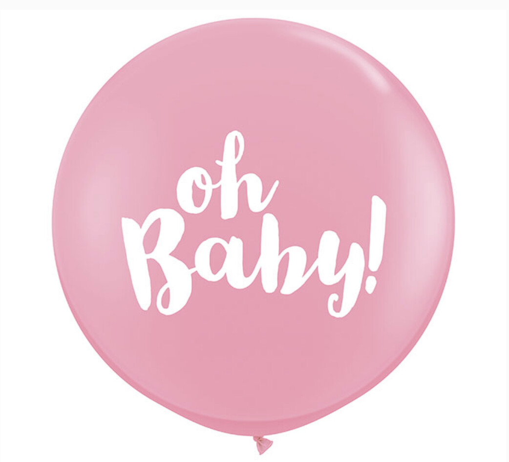 3' Oh Baby Pink Balloon