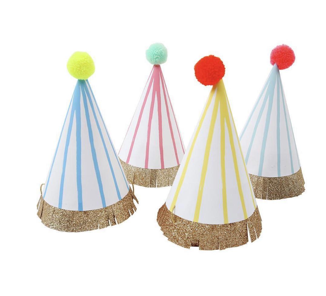 Striped Pompom Party Hats