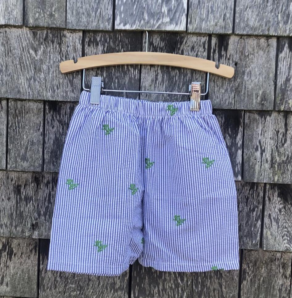 Navy Seersucker Green Frogs Shorts