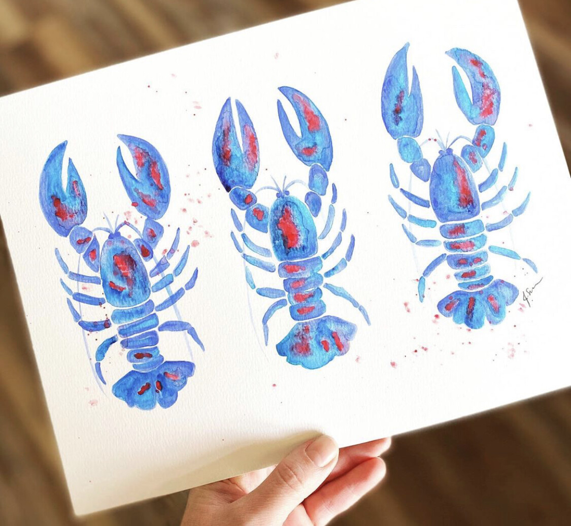 Lobster Trio Painting 9x12