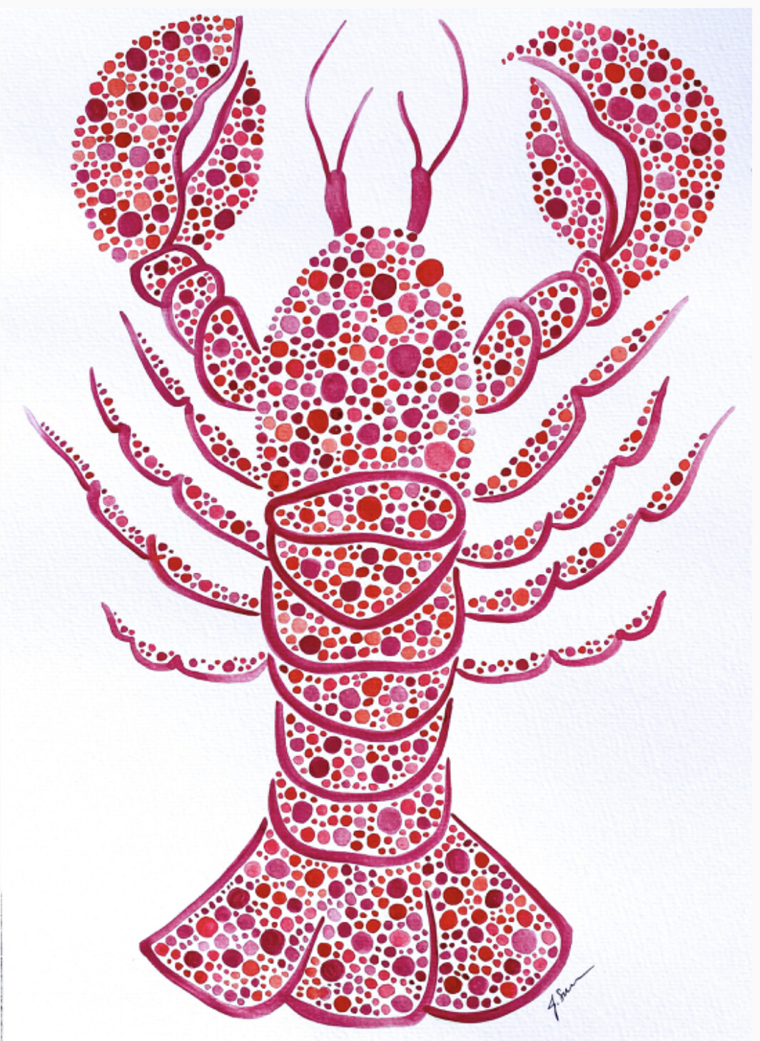 Red Dot Lobster Painting 9x12
