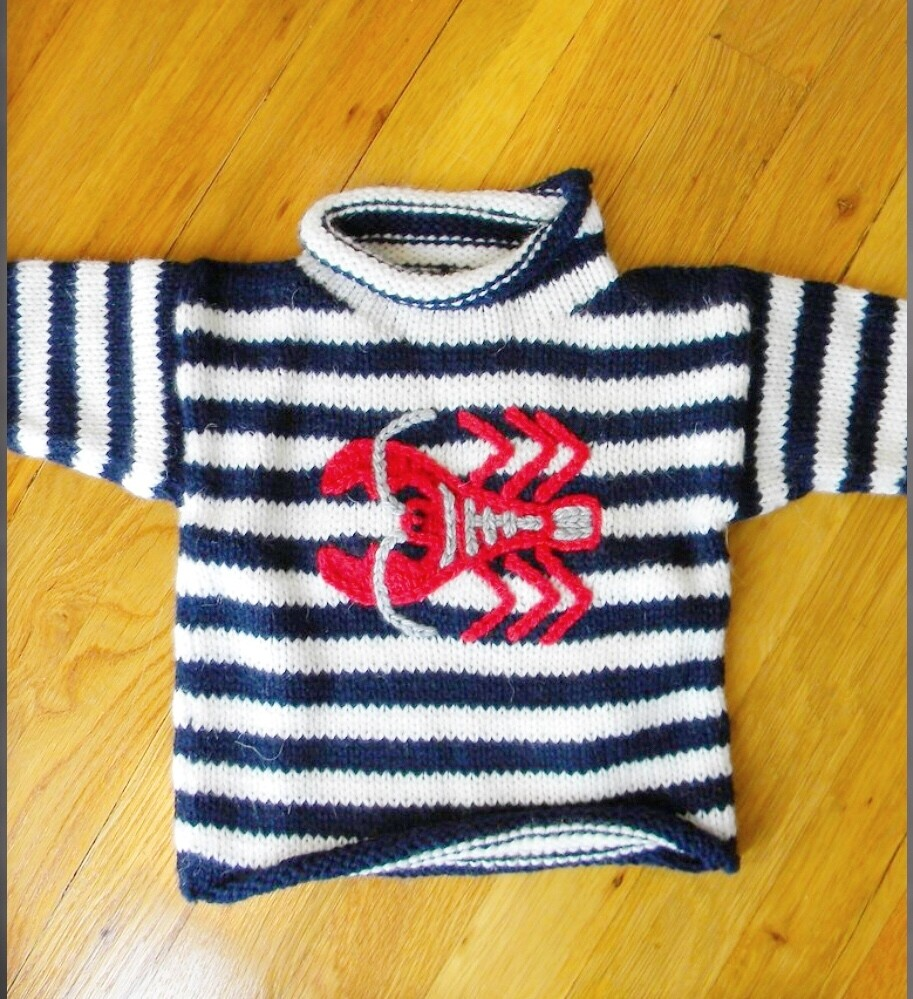 Navy White Striped Lobster Sweater