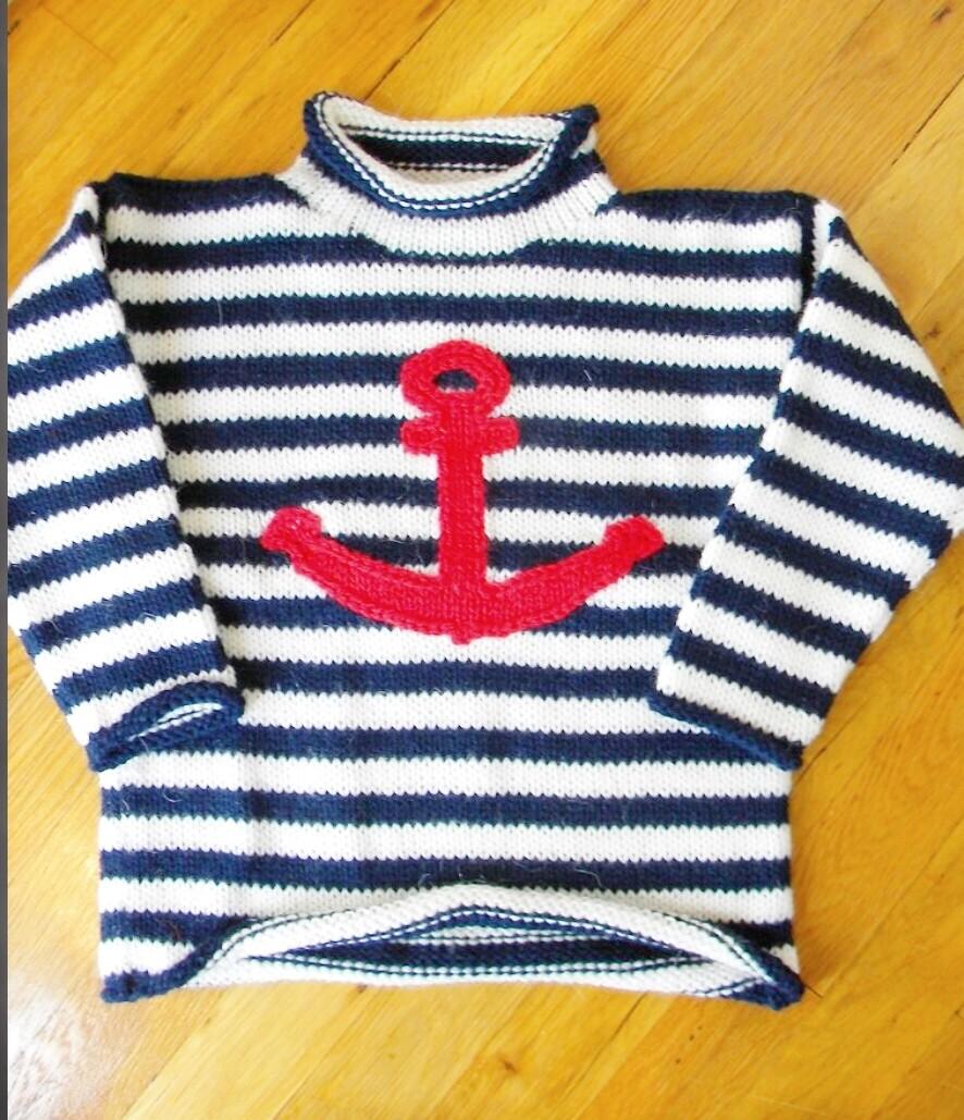 Navy White Stripe Anchor Sweater