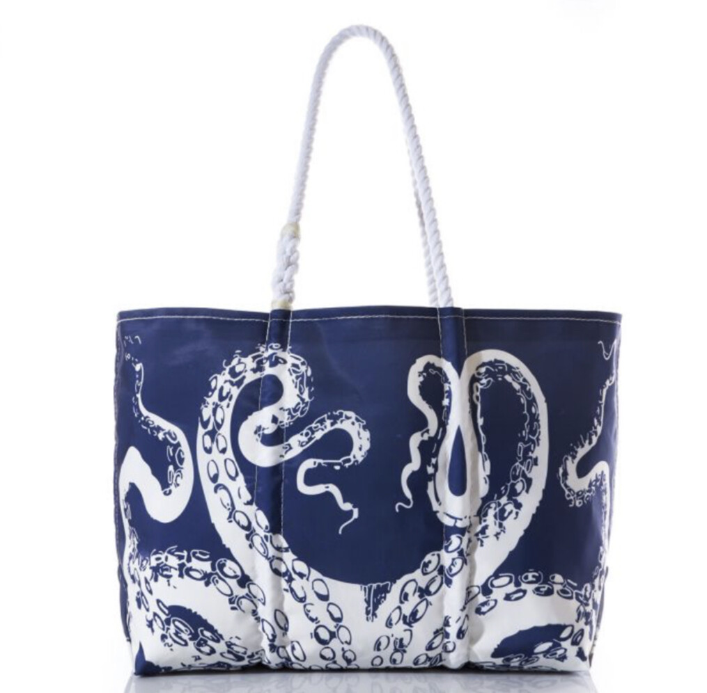 Tote, White On Navy Octopus