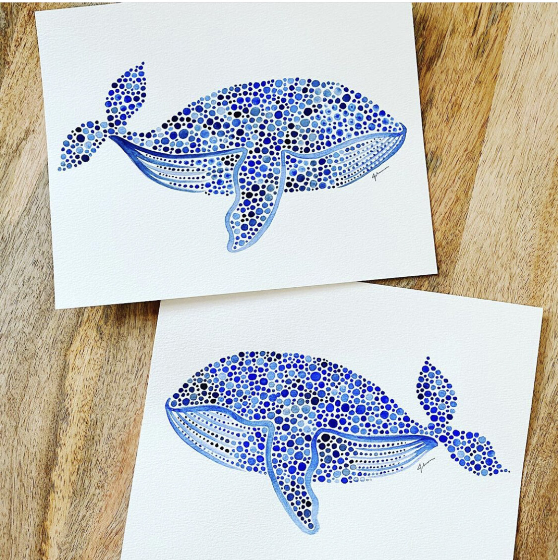8x10 Whale Watercolor