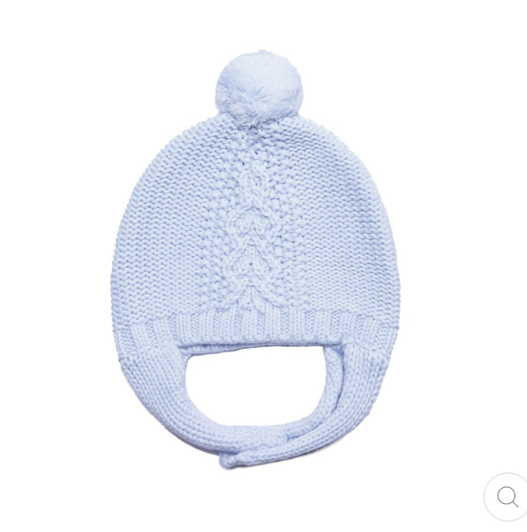 Cable Knit Hat Blue