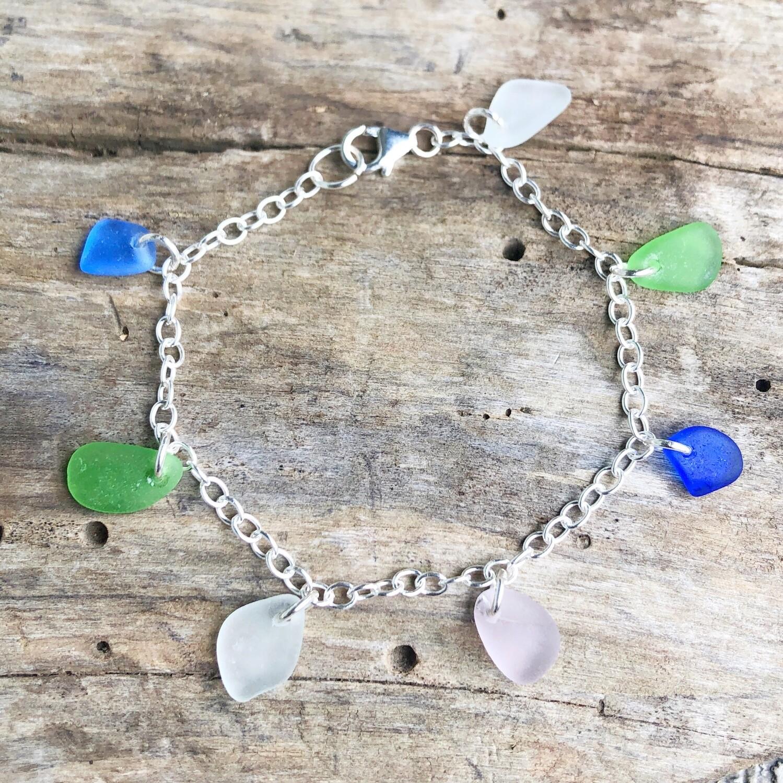 Multicolor Sea Glass Charm Bracelet