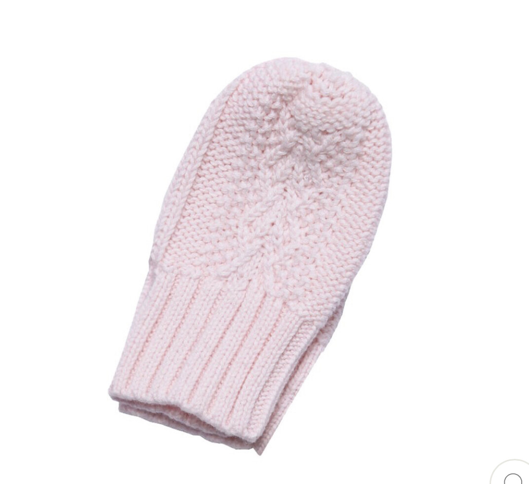 Cable Mittens Pale Pink