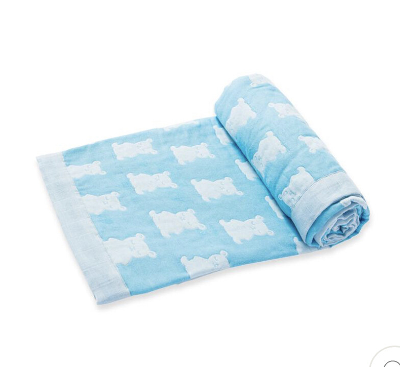 Jacquard Blanket - Blue Bear