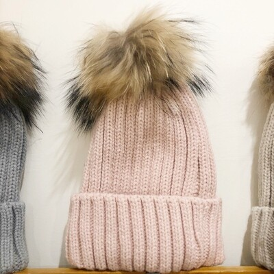 Light Pink Pom Pom Hat