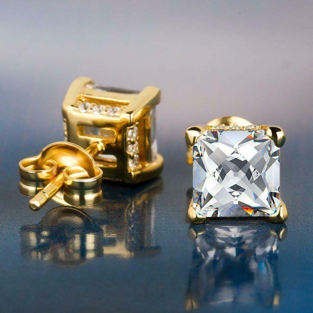 Square Cut Diamond Earrings (Pair)