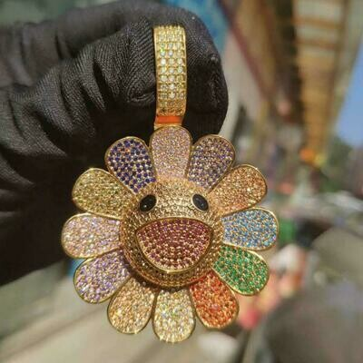 Spinning Iced Out Sunflower Pendant Necklace