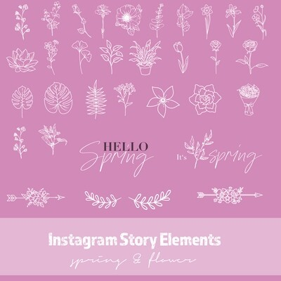 Instagram Story Elements - Spring & Flower