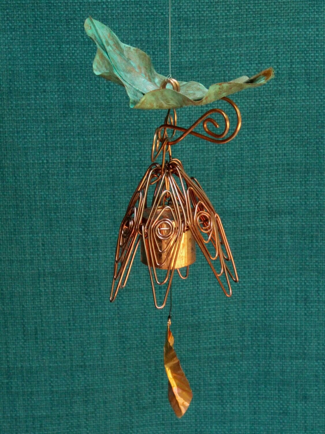 Hanging Bellflower Chime with Patina Leaf Dusty Rose