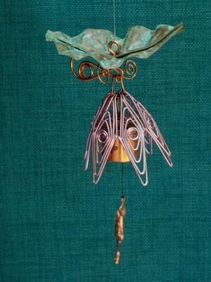 Hanging Bellflower Chime with Patina Leaf Violet