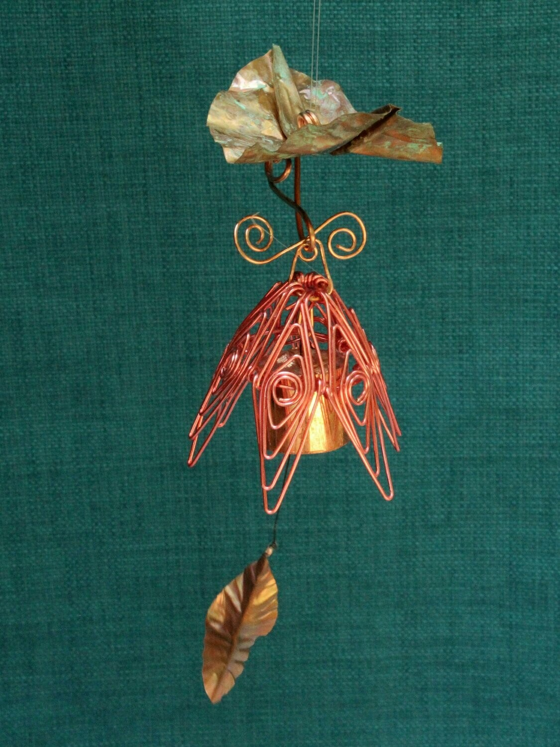 Hanging Bellflower Chime with Dappled Leaf Coral